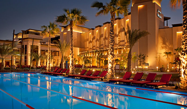 The Westin Abu Dhabi Golf Resort Spa Lap Pool At Night